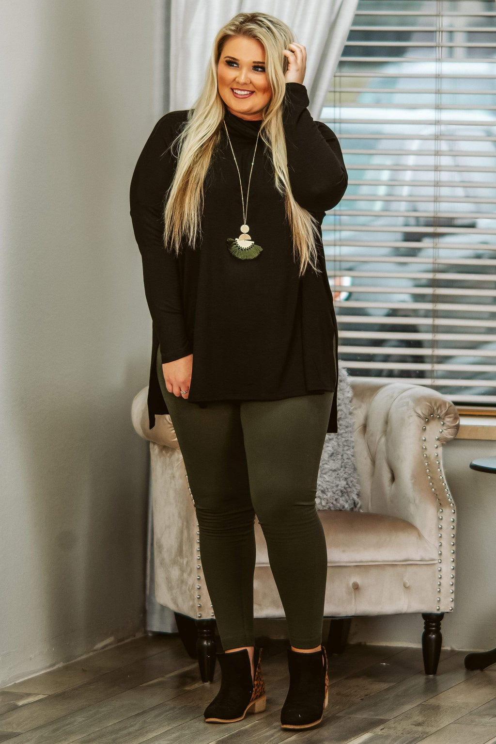 Glitzy Girlz Boutique Curvy Cue The Casual, Dark Olive, Plus Size Leggings