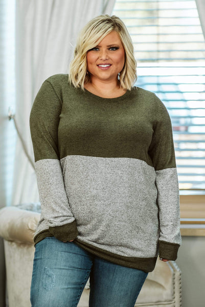 Glitzy Girlz Boutique Curvy Day By Day, Olive, Plus Size Top