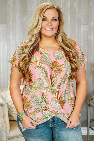 Glitzy Girlz Boutique Curvy Definitely Maybe Plus Size Top, Blush/Taupe