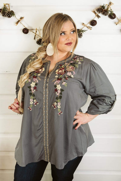 Glitzy Girlz Boutique Curvy Dream All Day Top, Midnight Grey
