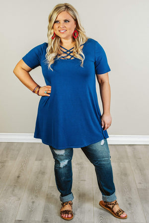 Glitzy Girlz Boutique Curvy Everybody Knows Top, Sapphire