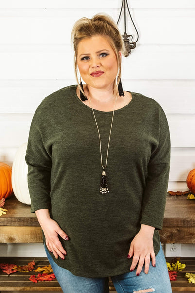 Glitzy Girlz Boutique Curvy Fall Fever Top, Olive
