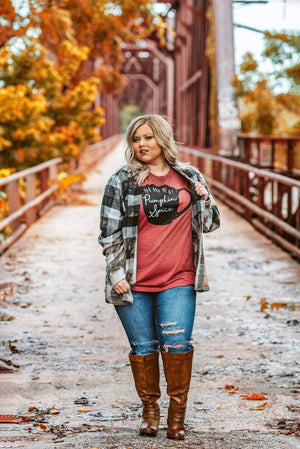Glitzy Girlz Boutique Curvy Fall Most Of All Distressed Flannel