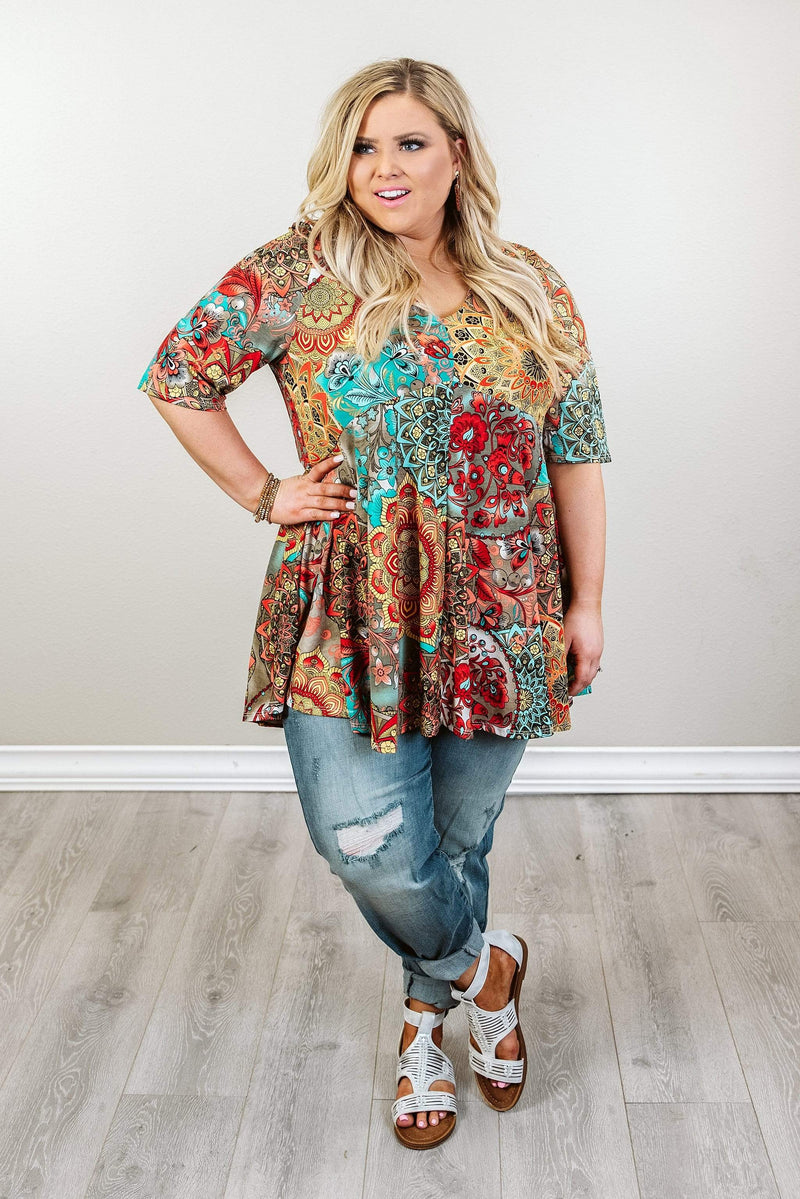 Glitzy Girlz Boutique Curvy Far Too Good Top, Taupe/Mint