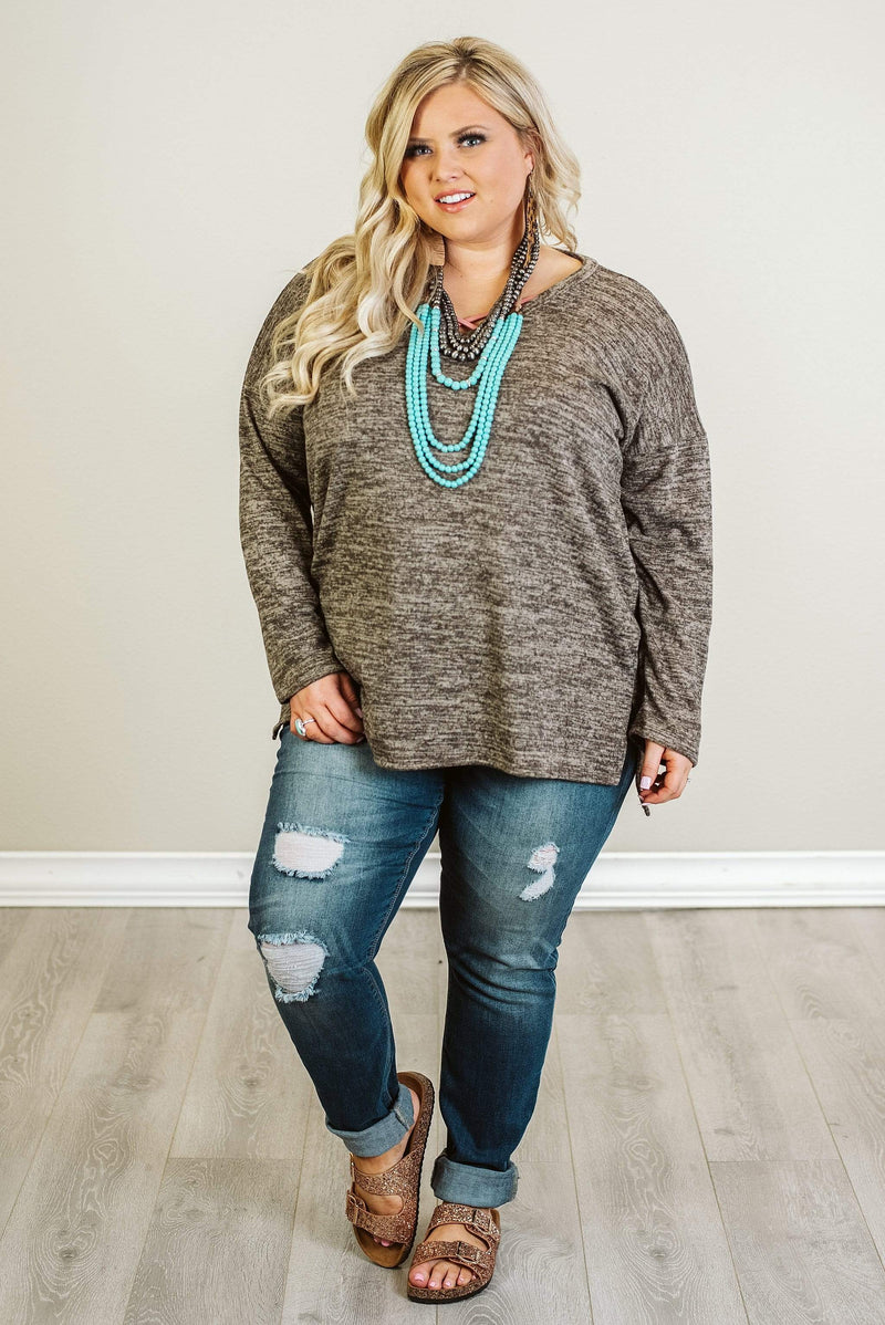 Glitzy Girlz Boutique Curvy Forever Yours Top, Mocha