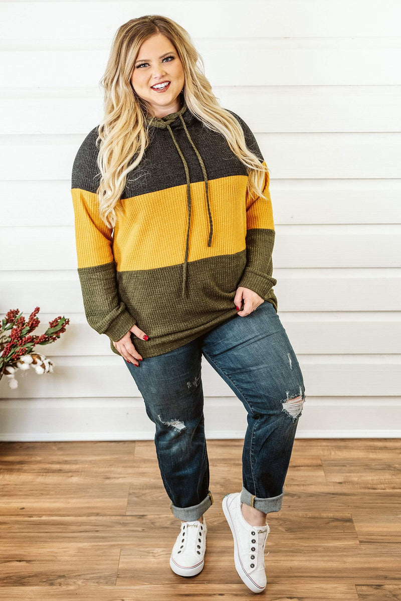 Glitzy Girlz Boutique Curvy Going With The Flow Hoodie, Color Block