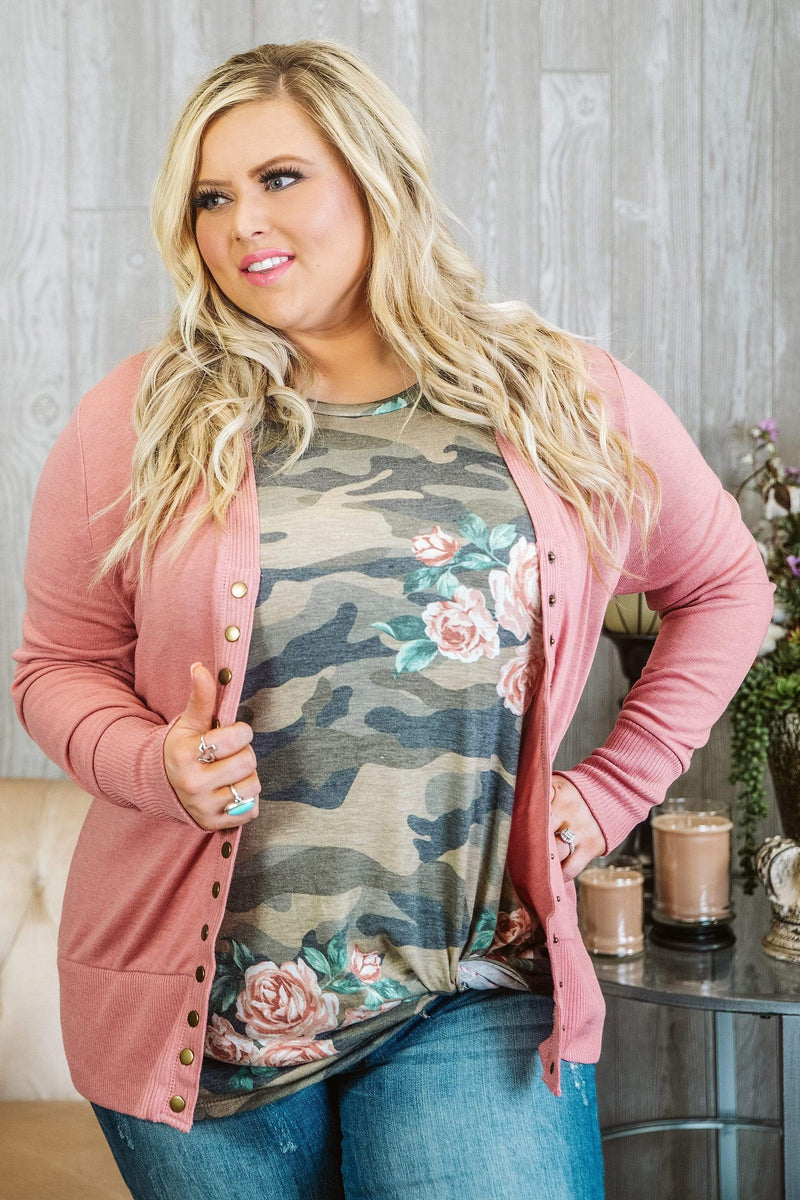 Glitzy Girlz Boutique Curvy Good Vibes Cardigan, Dusty Rose