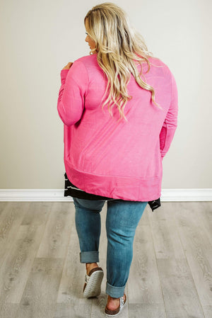 Glitzy Girlz Boutique Curvy Good Vibes Cardigan, Pink