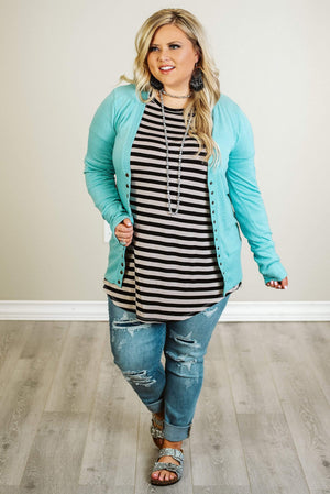 Glitzy Girlz Boutique Curvy Good Vibes Cardigan, Pool Blue
