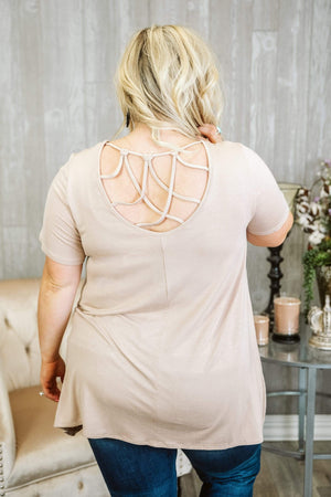 Glitzy Girlz Boutique Curvy Got It Made Top, Taupe