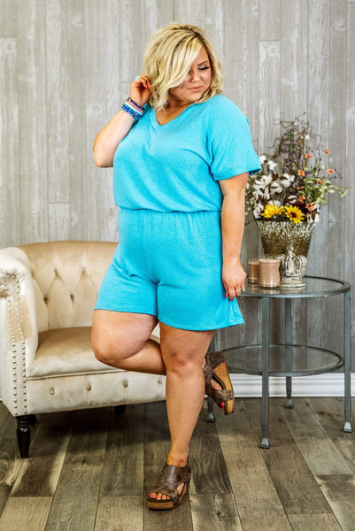 Glitzy Girlz Boutique Curvy Groove Thing Plus Size Romper, Neon Blue