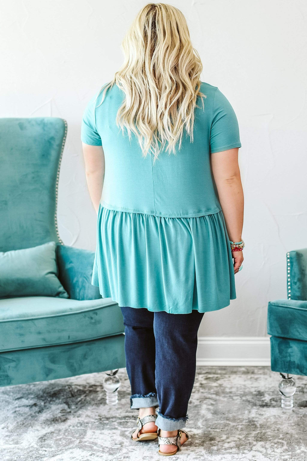 Glitzy Girlz Boutique Curvy Happy As Can Be Top, Dusty Teal