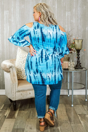 Glitzy Girlz Boutique Curvy Hearts Following Waves Top, Blue