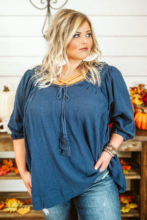Glitzy Girlz Boutique Curvy Hoping For More Top, Navy