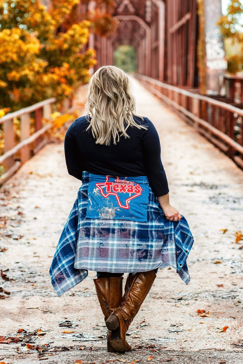 Glitzy Girlz Boutique Curvy I'm From Texas Distressed Flannel