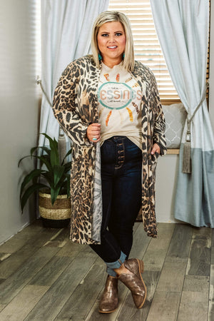 Glitzy Girlz Boutique Curvy In The Jungle, Leopard, Plus Size Cardigan
