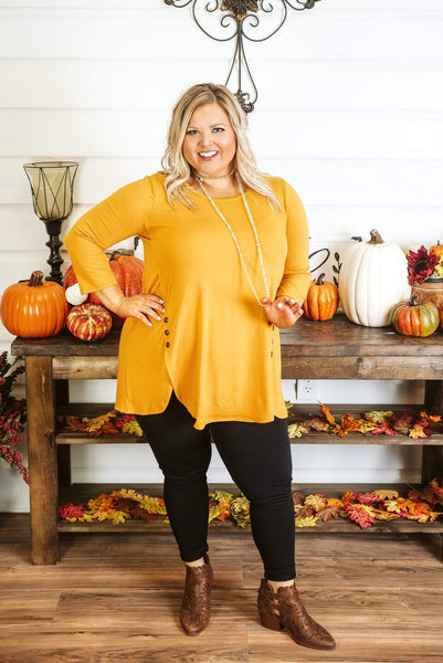 Glitzy Girlz Boutique Curvy Into You Top, Mustard