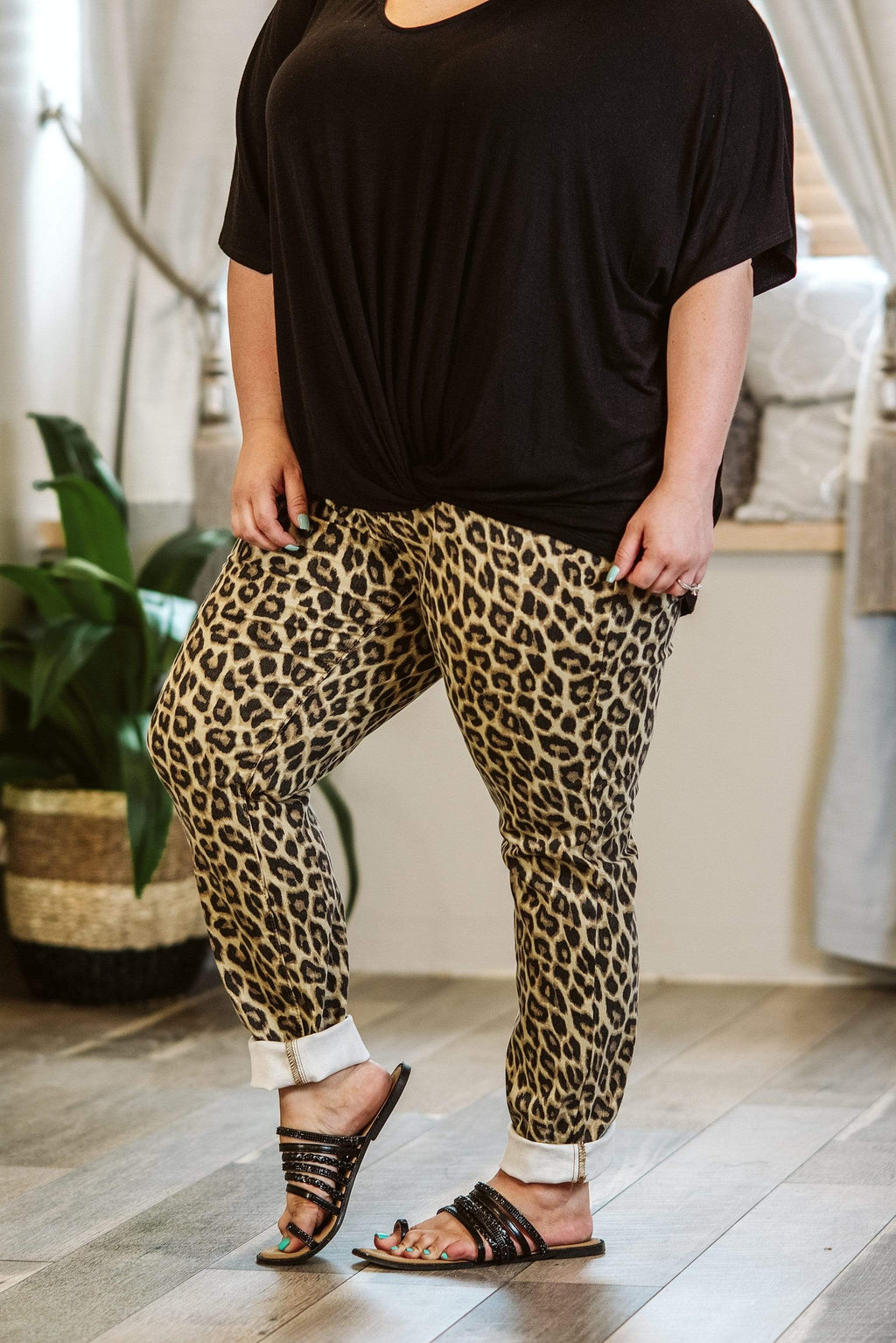 Glitzy Girlz Boutique Curvy Jazzy, Leopard, Plus Size Denim Jeans