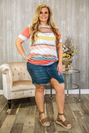 Glitzy Girlz Boutique Curvy Jianna Plus Size Pencil Skirt, Medium Wash