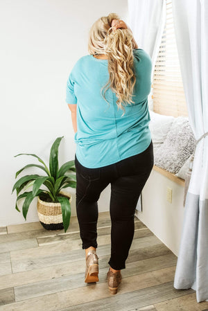 Glitzy Girlz Boutique Curvy Just Like This Top, Dusty Teal