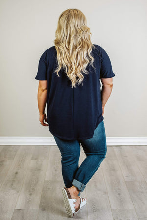 Glitzy Girlz Boutique Curvy Just Like This Top, Navy