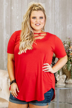 Glitzy Girlz Boutique Curvy Keeping Secrets Top, Ruby