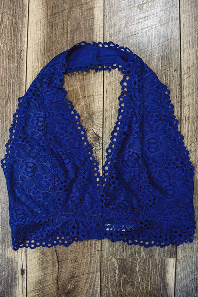 Glitzy Girlz Boutique Curvy Laced Halter Bralette, Denim Blue