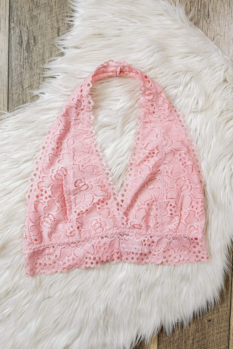 Glitzy Girlz Boutique Curvy Laced Halter Bralette, Dusty Pink
