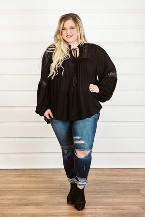 Glitzy Girlz Boutique Curvy Laced In Love Top, Black