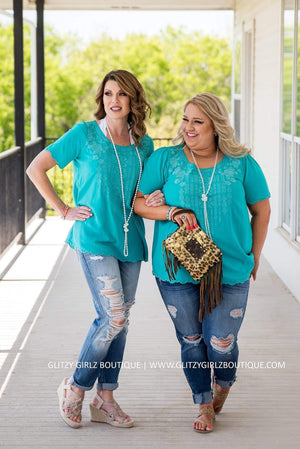Glitzy Girlz Boutique Curvy Lovely Life Top, Turquoise