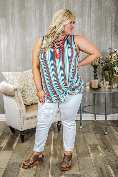 Glitzy Girlz Boutique Curvy Make A Mark Top, Multi Stripe