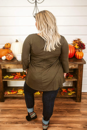 Glitzy Girlz Boutique Curvy Might Be So Tunic, Dark Olive