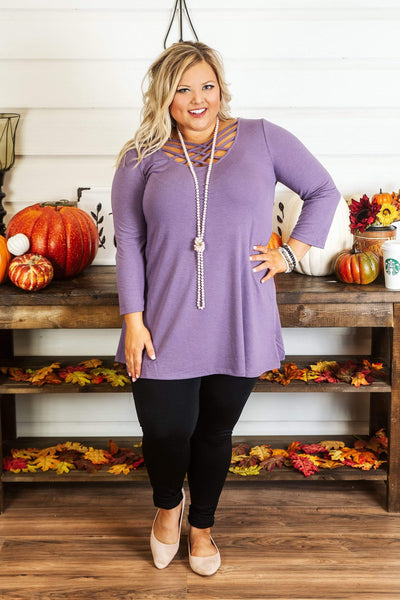 Glitzy Girlz Boutique Curvy Might Be So Tunic, Lilac