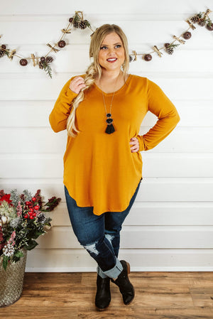 Glitzy Girlz Boutique Curvy Never Too Basic Top, Mustard