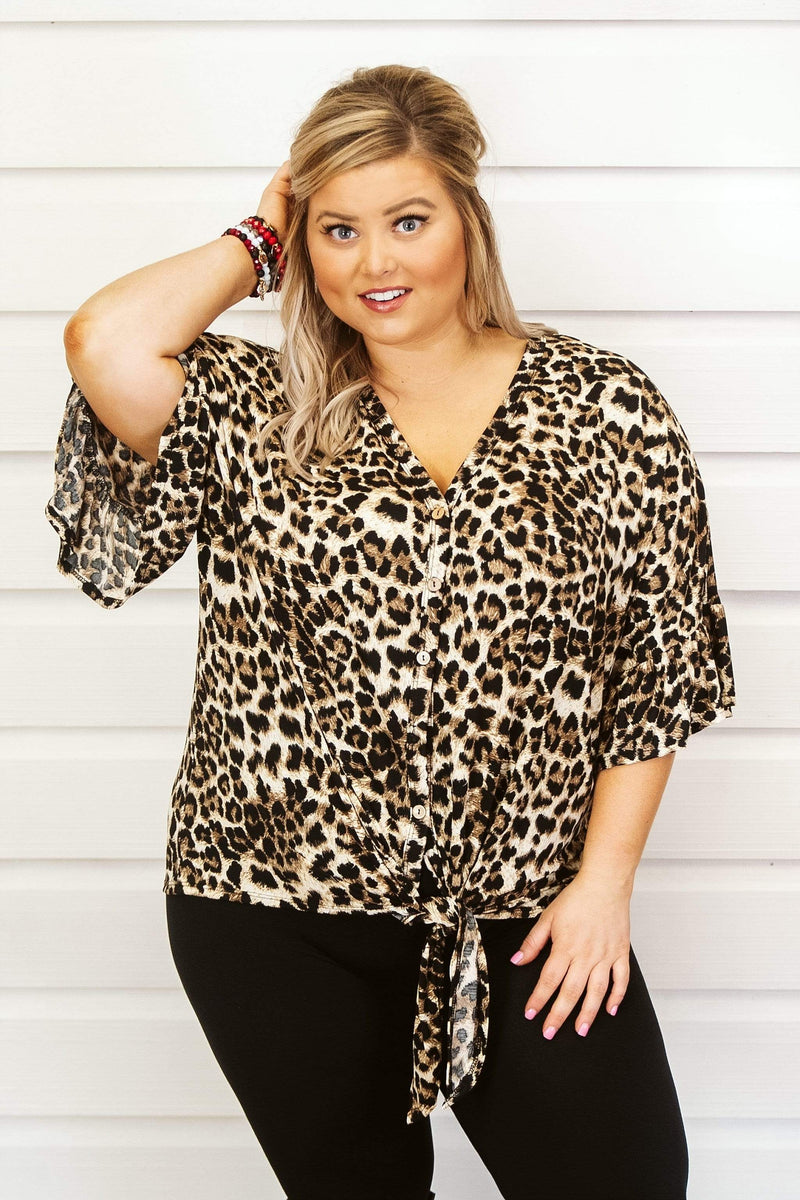 Glitzy Girlz Boutique Curvy On The Prowl Top, Leopard