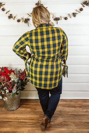Glitzy Girlz Boutique Curvy Patience Is Key Plaid Top, Mustard