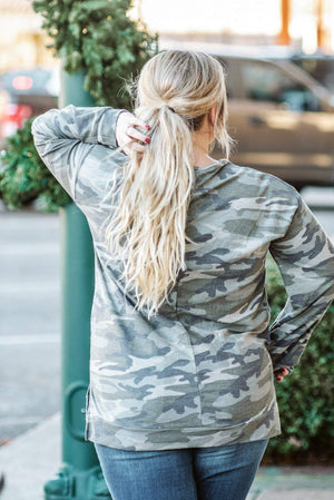 Glitzy Girlz Boutique Curvy Rise Above The Rest Top, Camo