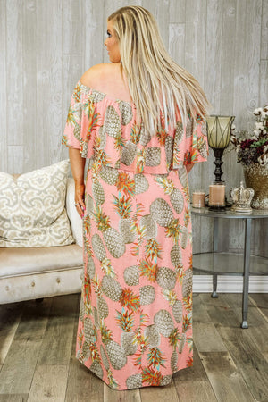 Glitzy Girlz Boutique Curvy Road To Rio Plus Size Maxi Dress, Blush/Taupe