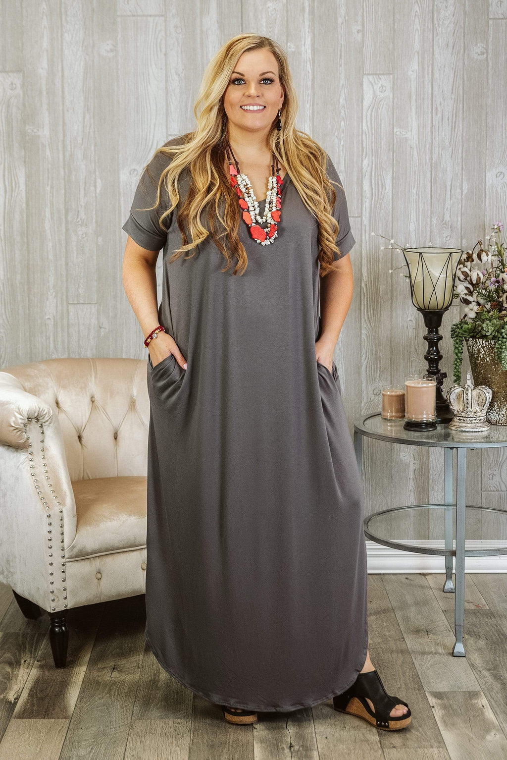 Glitzy Girlz Boutique Curvy Set You Free Maxi, Mid Grey