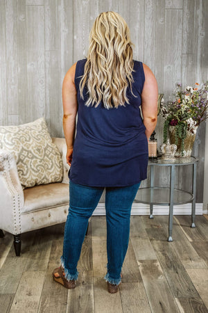 Glitzy Girlz Boutique Curvy Simple Rules Top, Navy