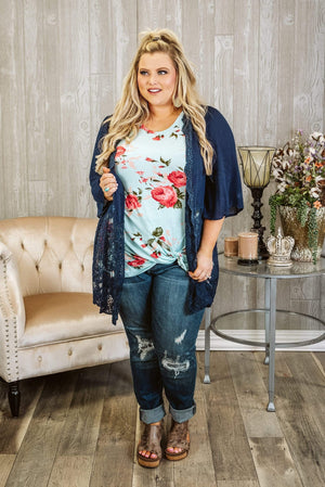Glitzy Girlz Boutique Curvy Something About Lace Cardigan, Navy