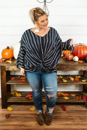 Glitzy Girlz Boutique Curvy Southern Charmer Top, Navy