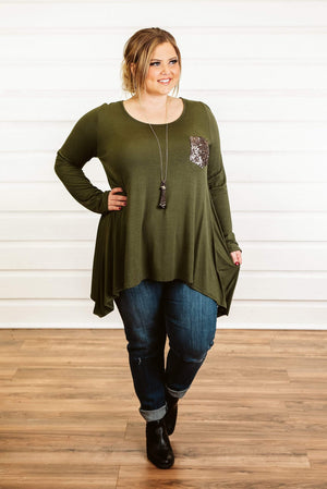 Glitzy Girlz Boutique Curvy Sparkle Above The Rest Top, Olive