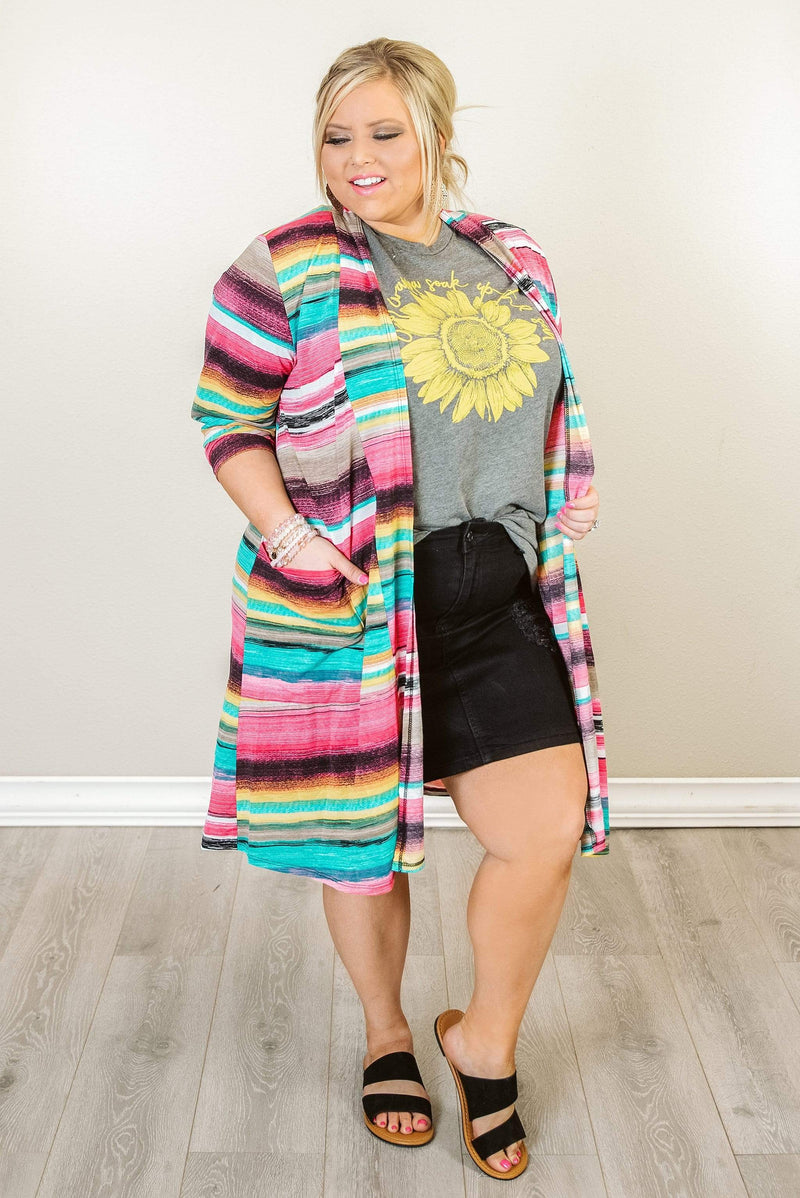 Glitzy Girlz Boutique Curvy Stripes For Days Kimono