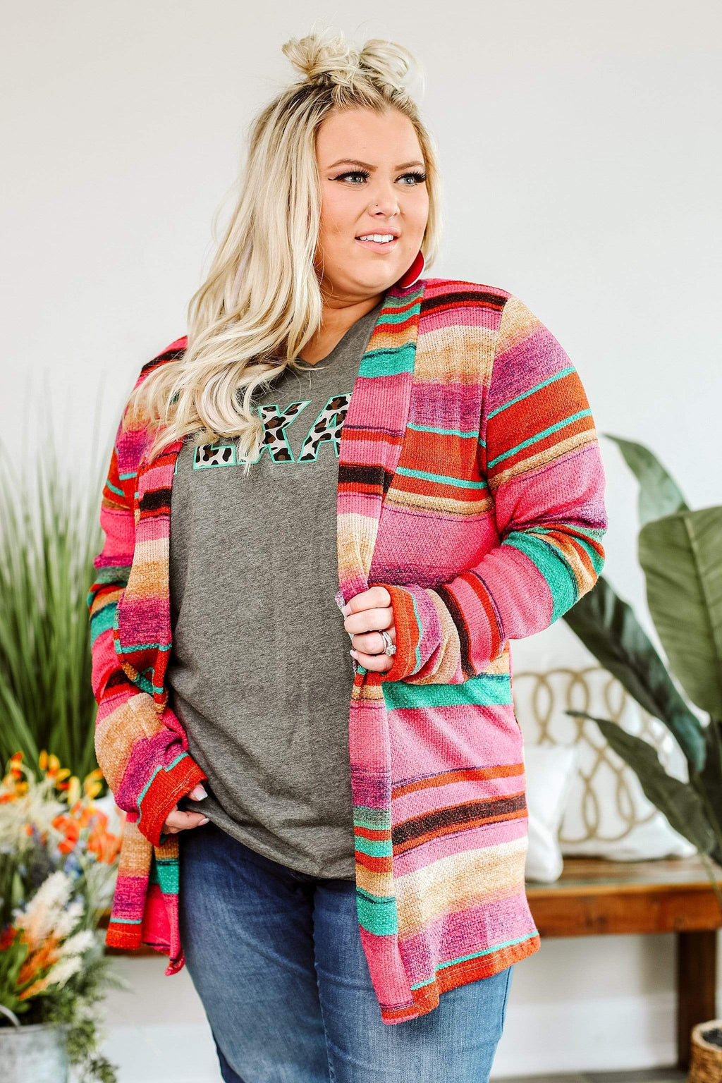 Glitzy Girlz Boutique Curvy Take All Night, Fuchsia, Plus Size Cardigan