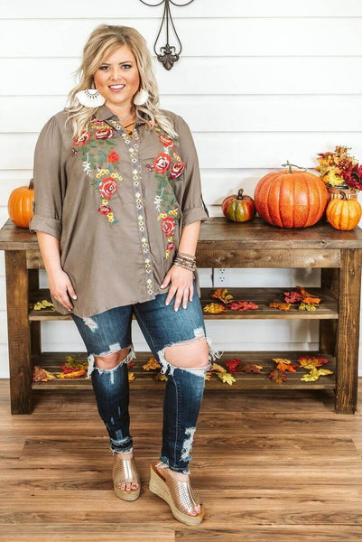 Glitzy Girlz Boutique Curvy That Kind Of Day Top, Olive taupe