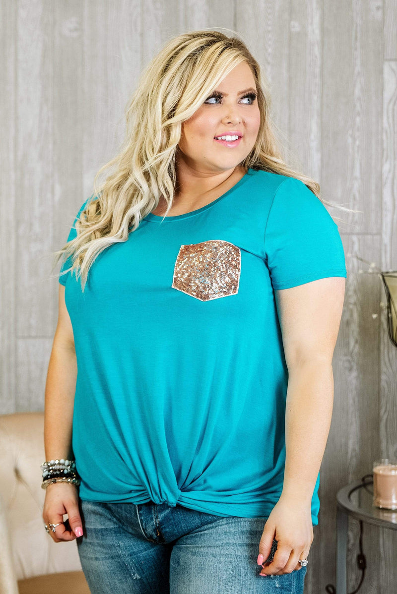 Glitzy Girlz Boutique Curvy The Best Of You Top, Jade