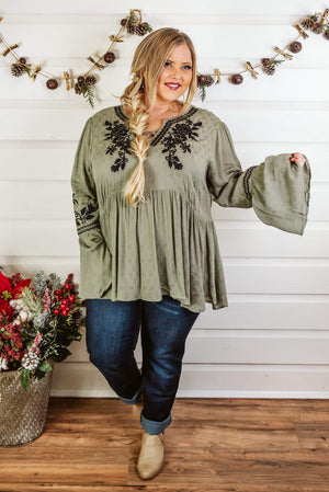 Glitzy Girlz Boutique Curvy The Places You'll Go Top, Olive
