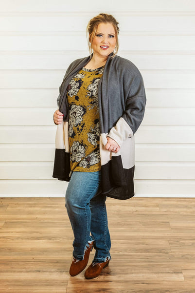 Glitzy Girlz Boutique Curvy The Road Cardigan, Charcoal/Ivory