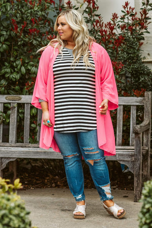 Glitzy Girlz Boutique Curvy This One's For The Girlz Plus Size Kimono, Neon Pink